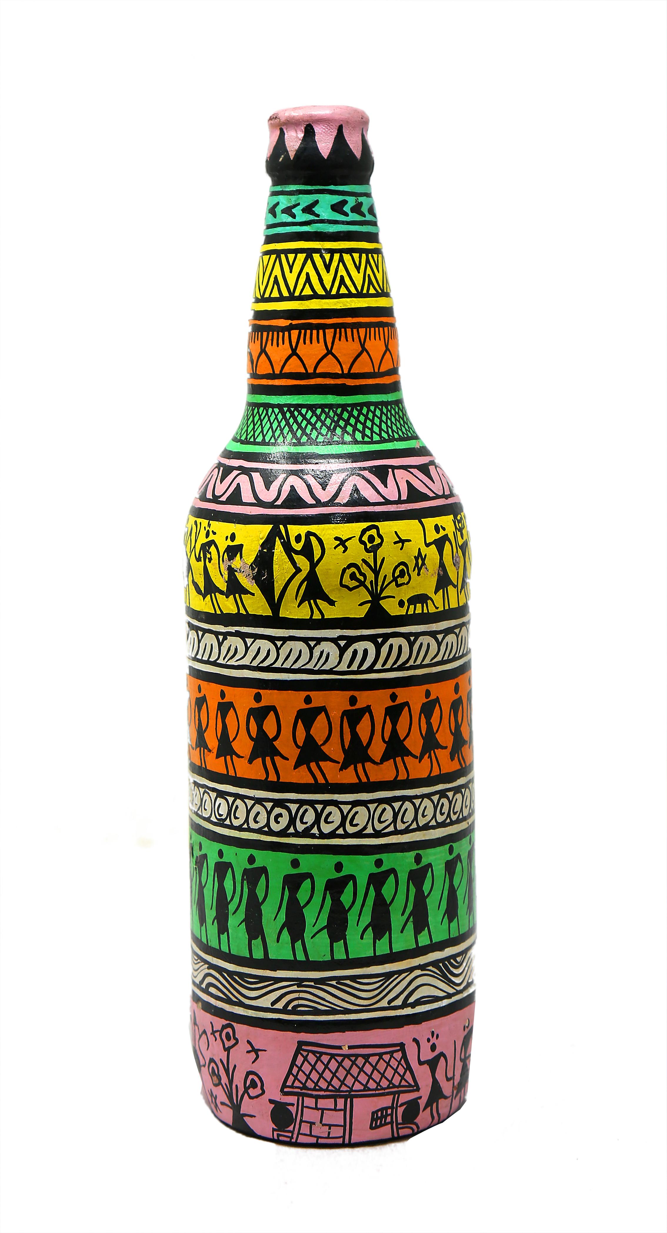 Kalgudi Multicoloured Warli Art Glass Bottle Painting